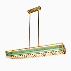 Lampade da soffitto in ottone e alluminio con plexiglas, Italia, anni '50, set di 4