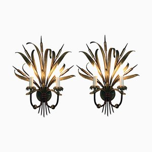 Iron Lacquered Brass and Green Wall Lights, Set of 2