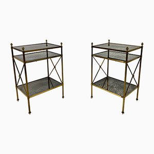 3-Tier Brass and Eglomise Side Tables, Set of 2