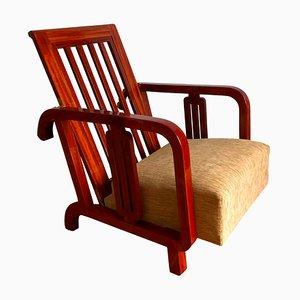 Austrian Art Deco Solid Mahogany Reclinable Armchair, 1930s