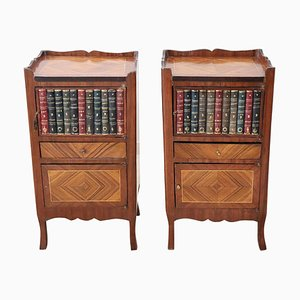 Nightstands With Books Carved in Wood, 1920s, Set of 2