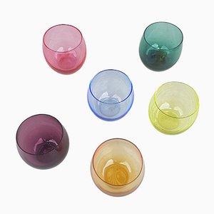 Farbige Lollipop Gläser von Friedrich Glas, 1960er, 12er Set