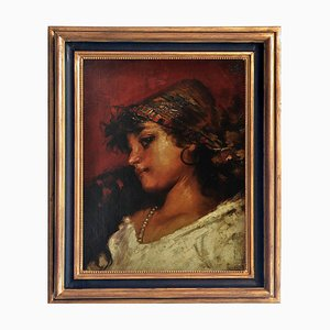 Young Gitana - Escuela napolitana - Oleo sobre lienzo