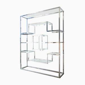 Chrome & Glass Shelving Unit by Romeo Rega, 1970s