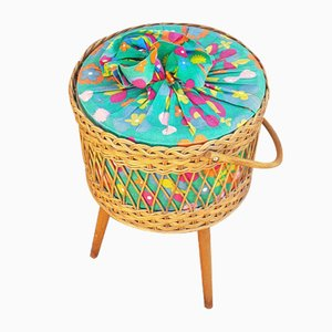 Wicker Sewing Basket with Flower Fabric, 1950s