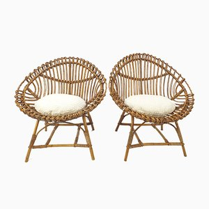 Italian Rattan Lounge Chairs, 1960s, Set of 2