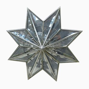 Nickel-Plated and Glass Faceted Ceiling Light, 1970s