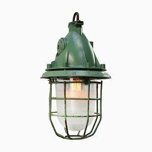 Vintage Industrial Green Aluminum & Clear Ribbed Glass Pendant Lamp