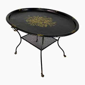 Vintage Black Lacquered Toleware & Perforated Metal Table on Castors