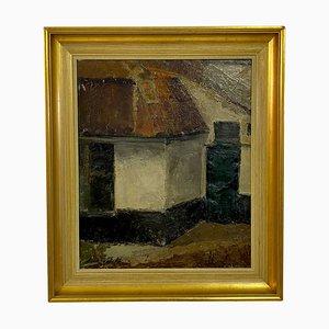 Pintura al óleo Mid-Century sobre lienzo