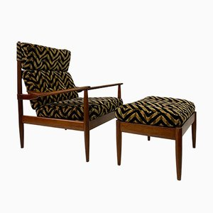 Danish Teak Armchair and Stool, 1960s, Set of 2