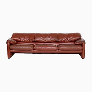 Italian Maralunga Leather Sofa by Vico Magistretti for Cassina