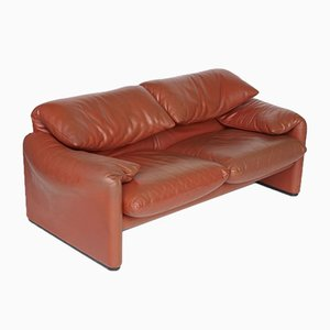 Italian Leather Maralunga Sofa by Vico Magistretti for Cassina