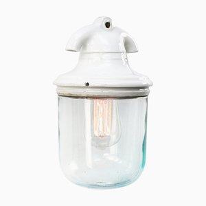 Industrielle Vintage Hängelampe aus weißem Porzellan & Klarglas
