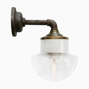 Vintage Klarglas & Messing Wandlampe mit Gusseisen Arm