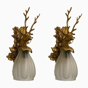 Vintage Stag-Shaped Sconces, Set of 2