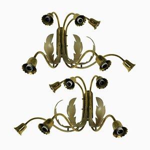 Italienische Messing Wandlampen, 1950er, 2er Set