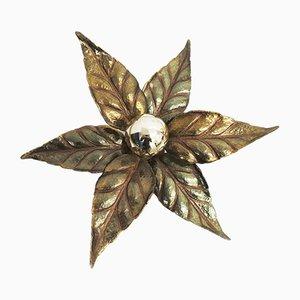 Messing Wand- oder Tischlampe in Blumenform von Willy Daro