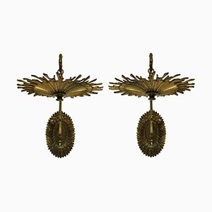 Vintage French Gilt Bronze Sunburst Bracket Sconces, Set of 2