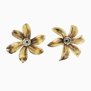 Brass Sconces in Flower Shape by Willy Daro, Set of 2