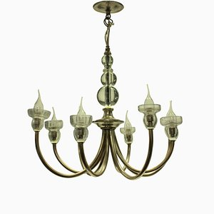 French Glass & Metal Chandelier, 1950s