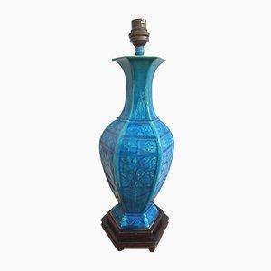 Jarrón chino antiguo convertido en lámpara, siglo XIX