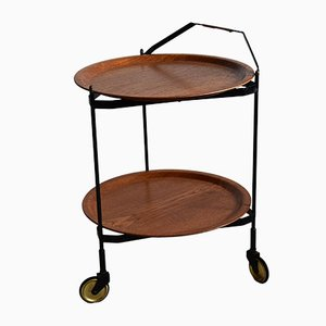 Mid-Century Foldable Teak Bar Trolley
