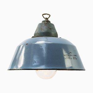 Vintage Industrial Gray Enamel, Clear Glass & Cast Iron Pendant