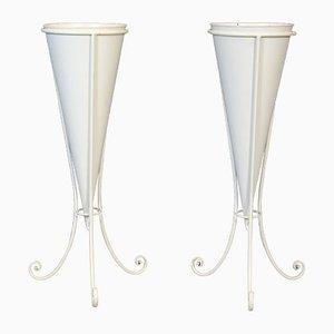 Schmiedeeisen Vasenhalter, Italien, 1970er, 2er Set