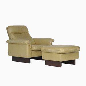 Großer Verstellbarer Vintage Sessel und Fußhocker im Stil von de Sede, 1970er, 2er Set