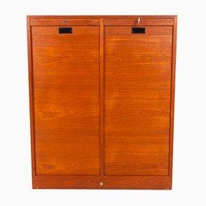 Vintage Danish Teak Cabinet with Tambour Doors, 1960s