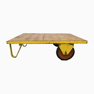 Large Industrial Yellow Coffee Table Cart, 1960s