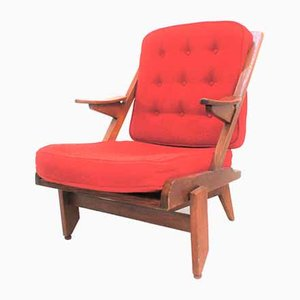 Lounge Chair in Oak and Fabric, and Guillerme Chambron by Guillerme Et Chambron for Votre Maison.