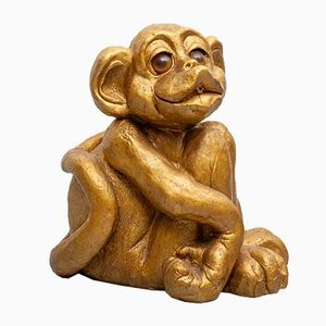 Fuente de jardín de gres en forma de mono, años 70