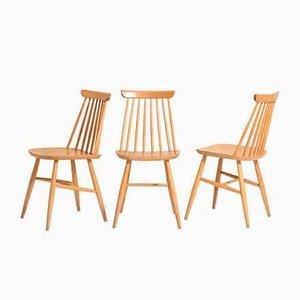 Scandinavian Vintage Oak Chairs, Set of 3
