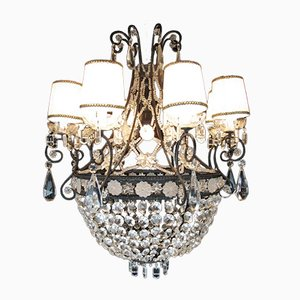 20th Century Iron and Crystal Chandelier