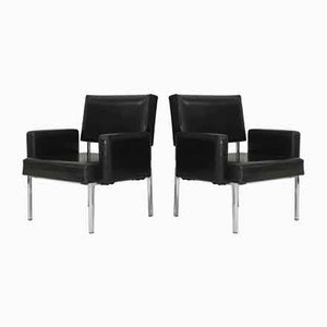 Black Leatherette Armchairs with Stainless Steel Legs, France, 1970s, Set of 2