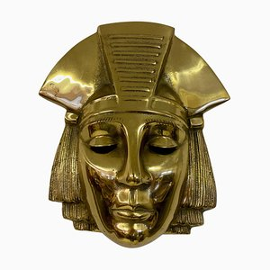 Belgian Brass Hanging Pharaoh Face Plaque, 1970s