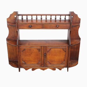 Walnut Wall Cabinet with Drawers and Shelves, 1920s