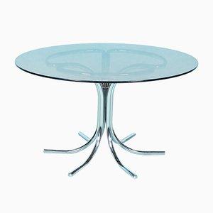 Mesa de comedor italiana vintage redonda de cristal ahumado y cromo tubular de Gastone Rinaldi
