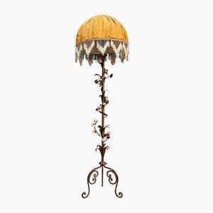 Vintage Italian Copper & Porcelain Flower Floor Lamp