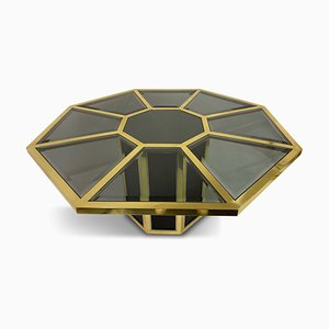 Italian Octagonal Brass & Black Rattan Dining Table by Mario Sabot, 1970s