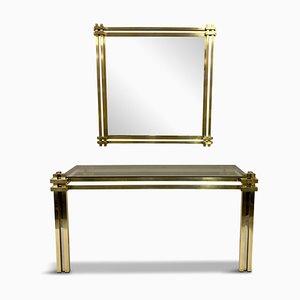 Consolle in ottone con specchio, Italia, anni '70, set di 2