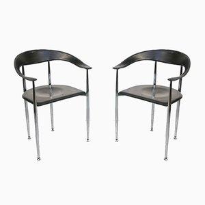Italienische Vintage Leder P40 Stühle im Stil von Giancarlo Vegni, 2er Set