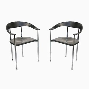 Vintage Italian Leather P40 Chairs in Style of Giancarlo Vegni, Set of 2