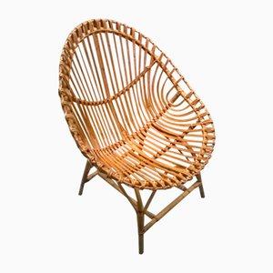 Großer Italienischer Rattan Egg Chair, 1950er