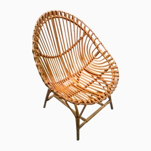 Large Italian Rattan Egg Chair, 1950s