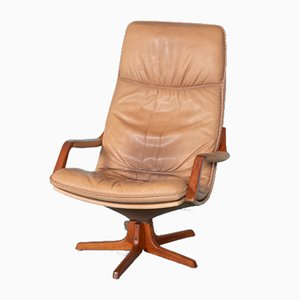 Vintage Danish Leather Swivel Lounge Chair from Berg Furniture, 1960s