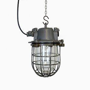 Industrial Gray Cast Iron Cage Pendant Light, 1960s