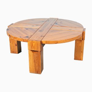 Vintage Scandinavian Round Pine Coffee Table